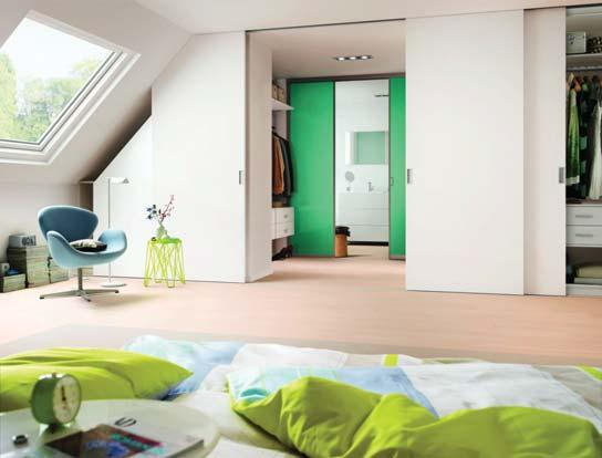 Sliding doors can be installed not only in standard rooms and niches, but also in attic or roof rooms.