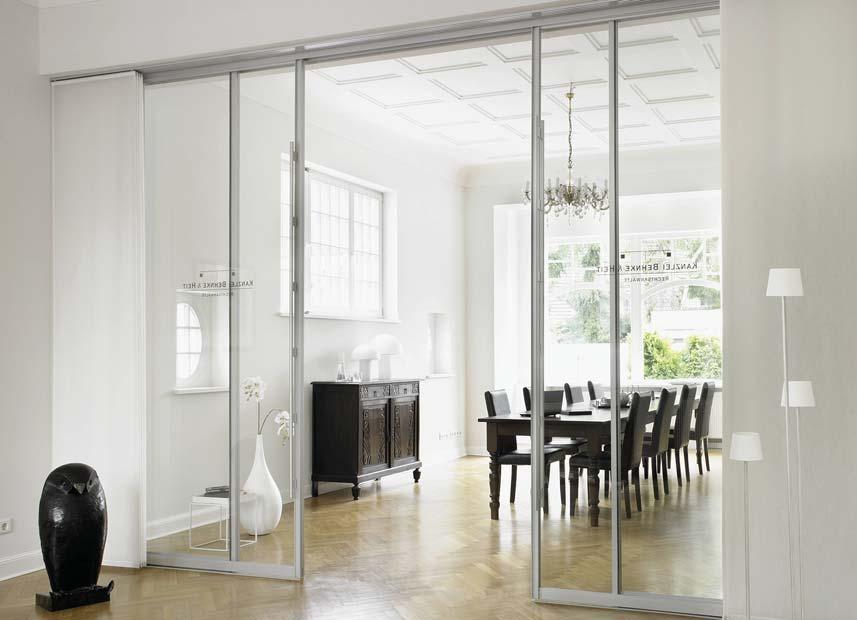 Both sliding doors and hanged/swinged doors can serve as partition doors. Hanged doors are easy to mount and they do not need the lower floor rail.